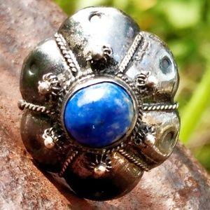 Antique Sterling Silver & Lapis  Intricate Ring-7
